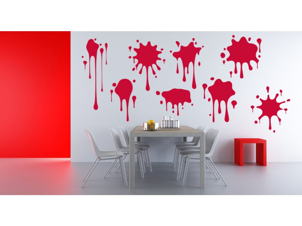 Jednobarevné kaňky na zeď | SAMOLEPKYnaZED.cz (barva červená)