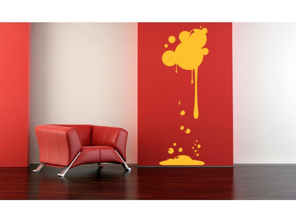 Kapající barva - dekorace na stěnu | SAMOLEPKYnaZED.cz (barva žlutá)