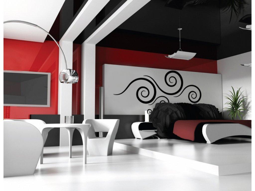 Design spirale - samolepky na zeď (barva černá)