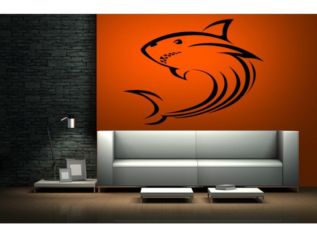Žralok - samolepící dekorace na zeď   SAMOLEPKYnaZED.cz (barva černá)
