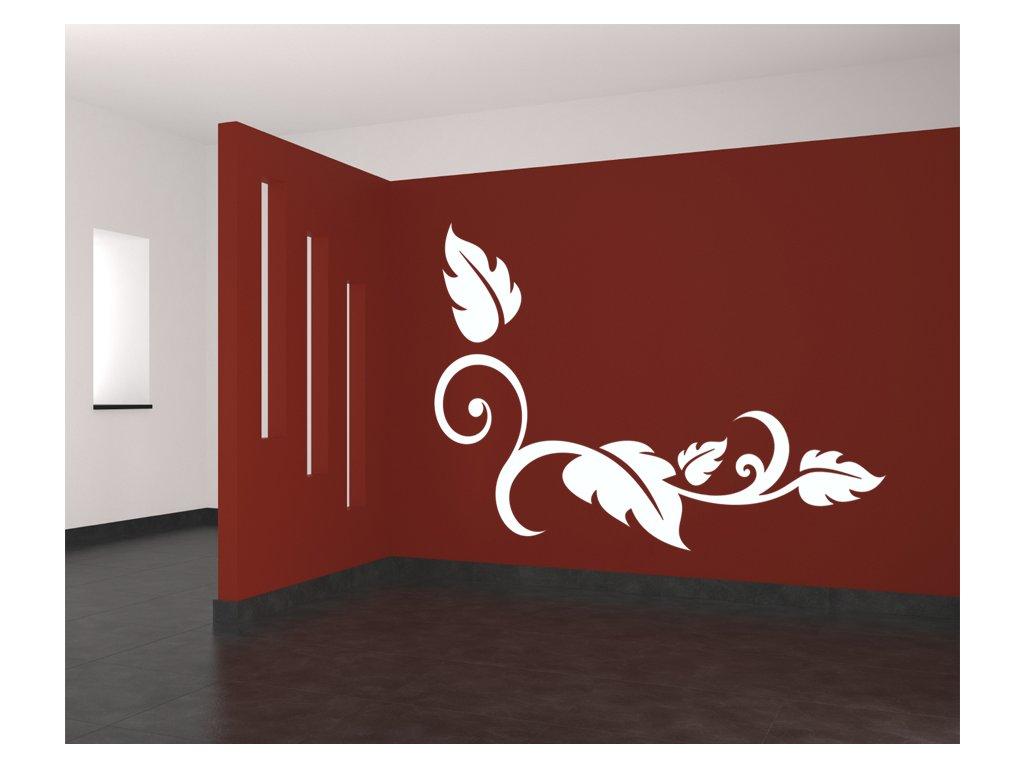 Květinová dekorace Pino - samolepka na zeď, úžasná dekorace | SAMOLEPKYnaZED.cz (barva bílá)