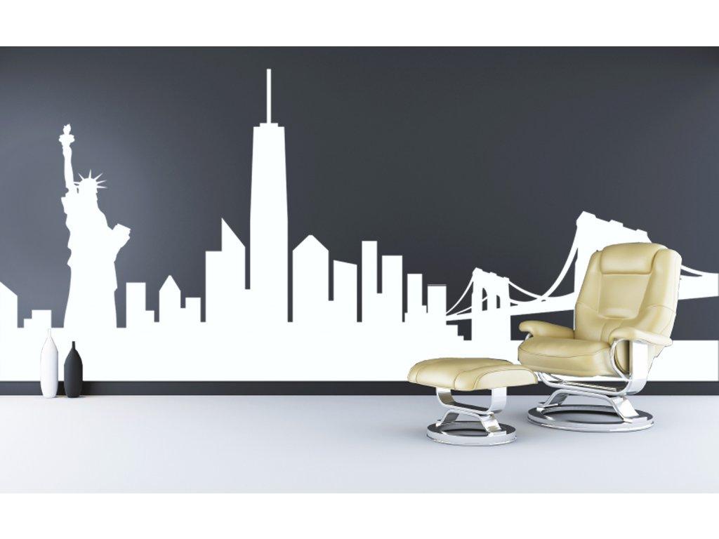 New York - samolepící dekorace panorama na zeď | SAMOLEPKYnaZED.cz (barva bílá)