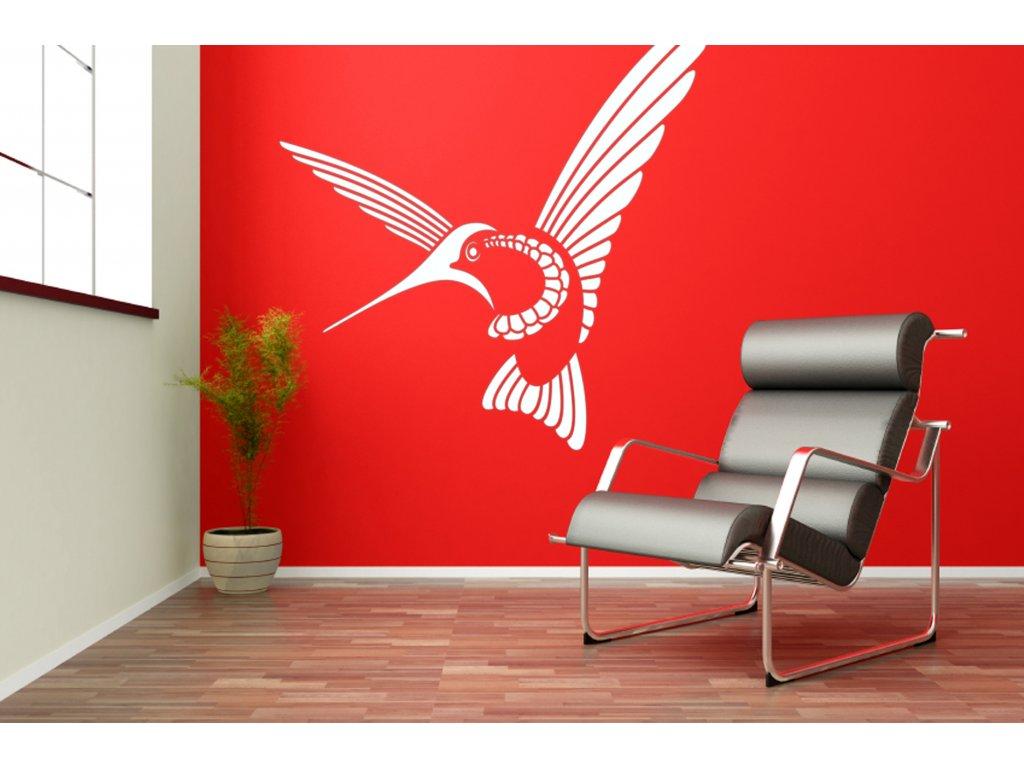Kolibřík - samolepící dekorace na zeď | SAMOLEPKYnaZED.cz (barva bílá)
