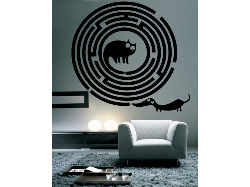 Pes a kočka - Samolepka na zeď | SAMOLEPKYnaZED.cz (barva černá)