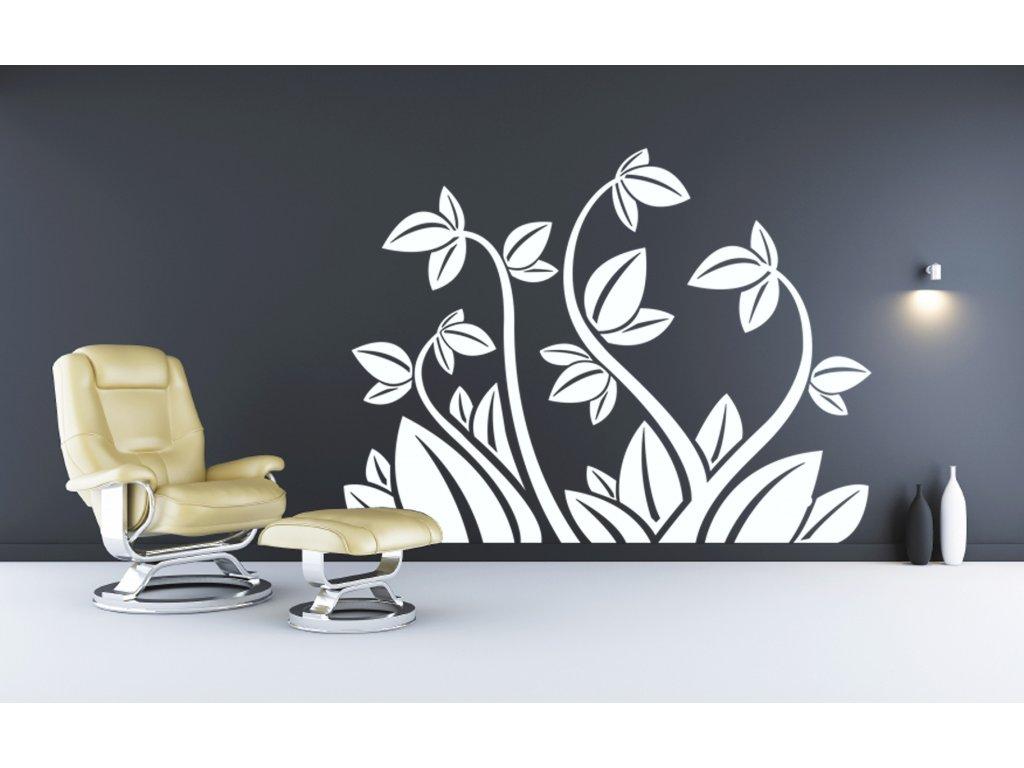 Floral Element - samolepka na zeď, úžasná dekorace | SAMOLEPKYnaZED.cz (barva bílá)
