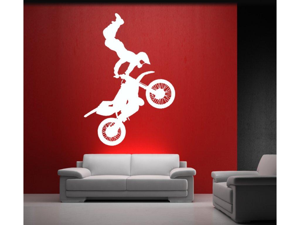 MOTOKROS - skok na motorce na zeď | SAMOLEPKYnaZED.cz (barva bílá)