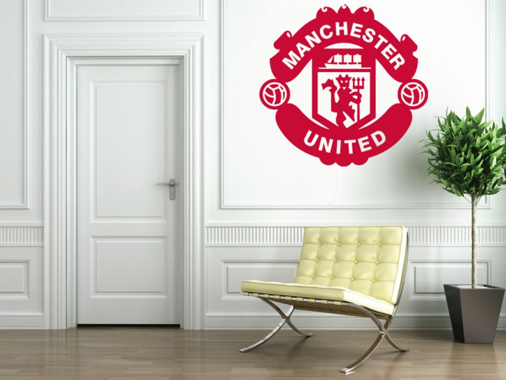 Dárek pro fotbalové fanoušky - logo Manchester United   SAMOLEPKYnaZED.cz (barva červená)
