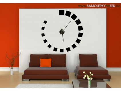 Čtvercový design se strojkem | hodiny od SAMOLEPKYnaZED.cz (barva černá)