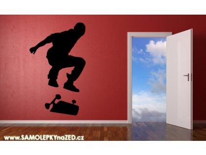 Skateboard - samolepky na zeď se skate | SAMOLEPKYnaZED.cz (barva černá)