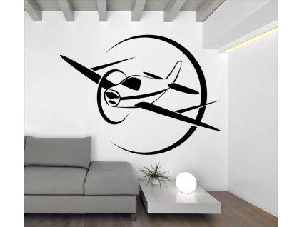 Letadlo - Samolepka na zeď | SAMOLEPKYnaZED.cz (barva černá)