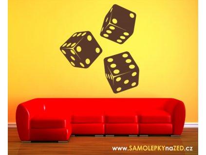 Kostky - samolepky na zeď pro hráče | SAMOLEPKYnaZED.cz (barva hnědá)