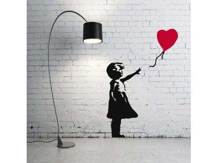 Dívka s balónkem (červená)
