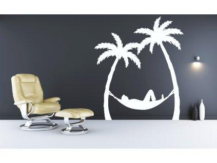 Houpací síť + 2 palmy - samolepky na zeď | SAMOLEPKYnaZED.cz (barva bílá)