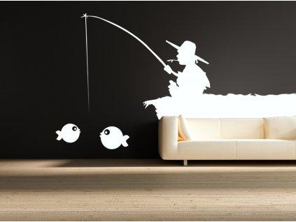RYBÁŘ - samolepky na zeď (nejen pro rybáře) | SAMOLEPKYnaZED.cz (barva bílá)
