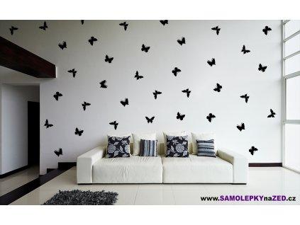 Hejno motýlů - Samolepka na zeď | SAMOLEPKYnaZED.cz (barva černá)