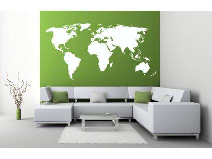 MAPA NA ZEĎ - velká samolepka na zeď | SAMOLEPKYnaZED.cz (barva bílá)