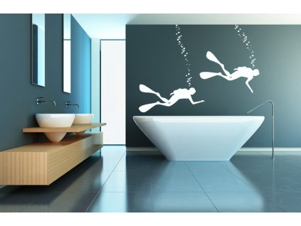 Potápěči - samolepky na zeď | SAMOLEPKYnaZED.cz (barva bílá)