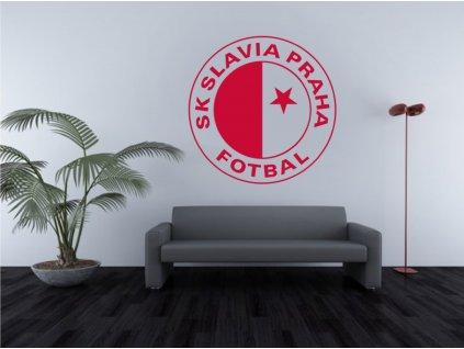 Fotbalové samolepky na zeď - SK Slavia Praha | SAMOLEPKYnaZED.cz (barva červená)