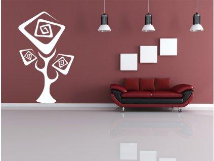 Strom Sakura - samolepka na zeď, úžasná dekorace   SAMOLEPKYnaZED.cz (barva bílá)