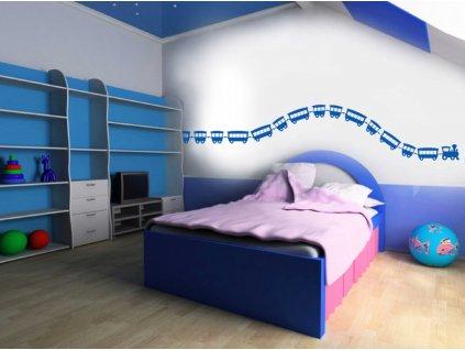 Vláček Samolepka na zeď (modrá)