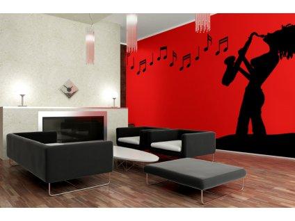 Hra na saxofon - jazz na zeď | SAMOLEPKYnaZED.cz (barva černá)