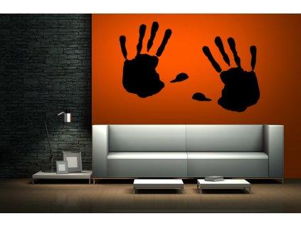 Ruce (2 dlaně) - originální samolepka na zeď (barva černá)