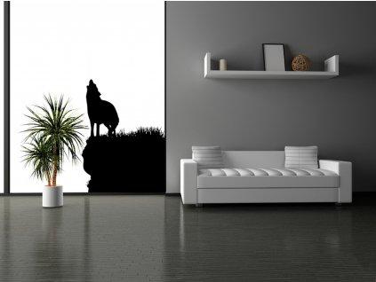 VLK - samolepka na zeď, vlčí dekorace | www.SAMOLEPKYnaZED.cz (barva černá)