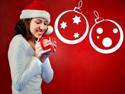 Samolepící vánoční ozdoby na stěny i okna | SAMOLEPKYnaZED.cz (barva bílá)
