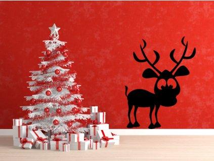 Roztomilý vánoční sob - dekorace | SAMOLEPKYnaZED.cz (barva černá)