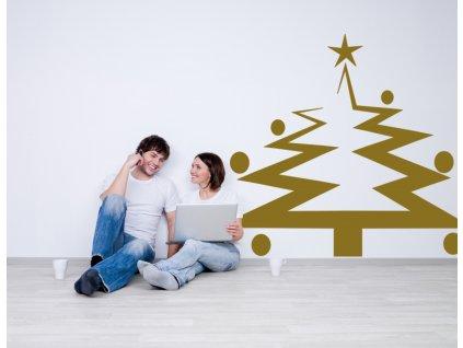 Vánoční strom - moderní dekorace na zeď | SAMOLEPKYnaZED.cz (barva zlatá lesklá)