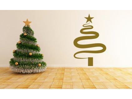 Vánoční strom - moderní dekorace na zeď   SAMOLEPKYnaZED.cz (barva zlatá lesklá)