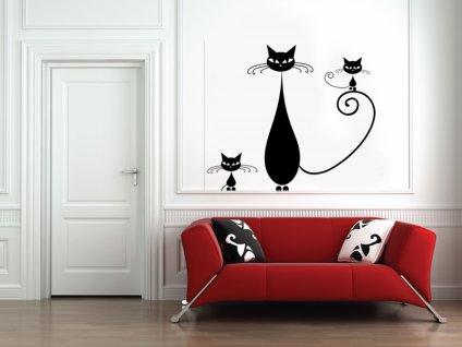 Koťata - Samolepka na zeď | SAMOLEPKYnaZED.cz (barva černá)
