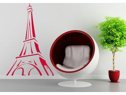 Eiffelova věž - dekorace a samolepky na zeď | SAMOLEPKYnaZED.cz (barva červená)