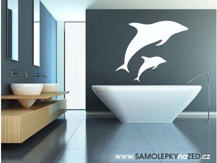 Delfíni - Samolepka na zeď (barva bílá)