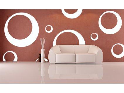 Velké samolepky bublin na zeď (barva bílá)