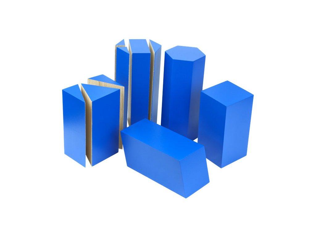Modré geometrické hranoly