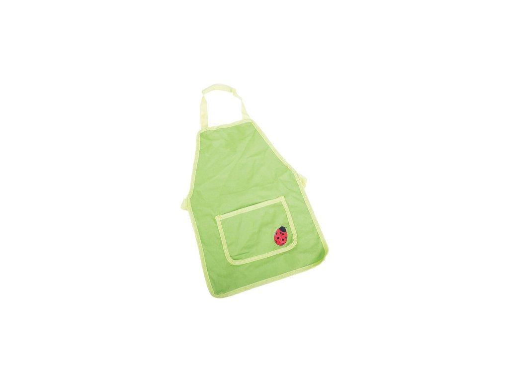 Zahradní zástěra zelená s beruškou