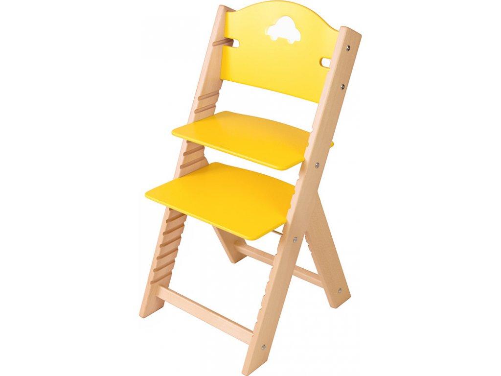 Dětská dřevěná rostoucí židle Sedees – žlutá s autíčkem
