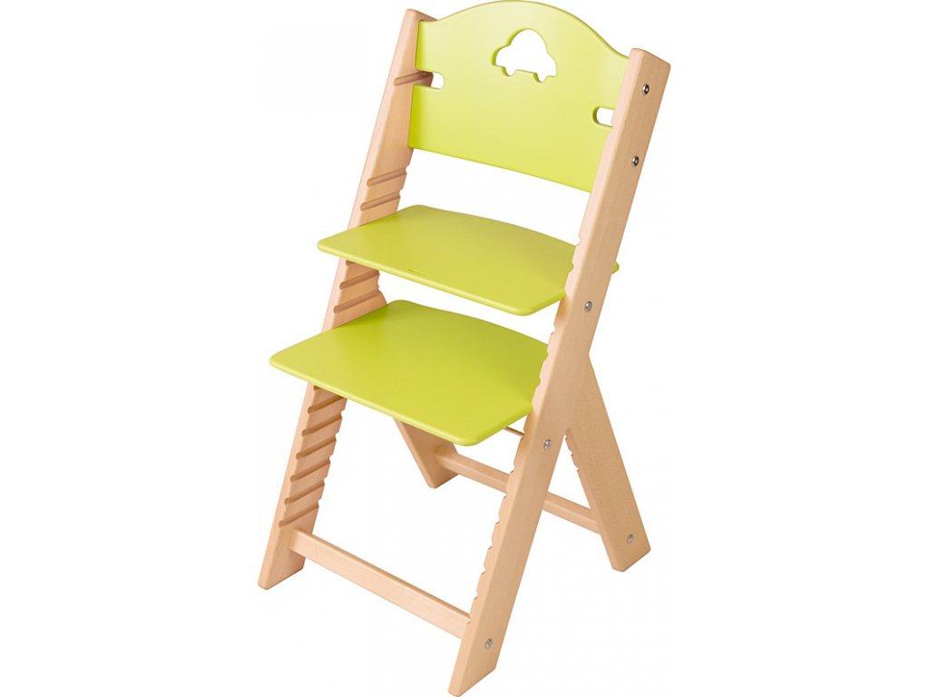 Dětská dřevěná rostoucí židle Sedees – zelená s autíčkem