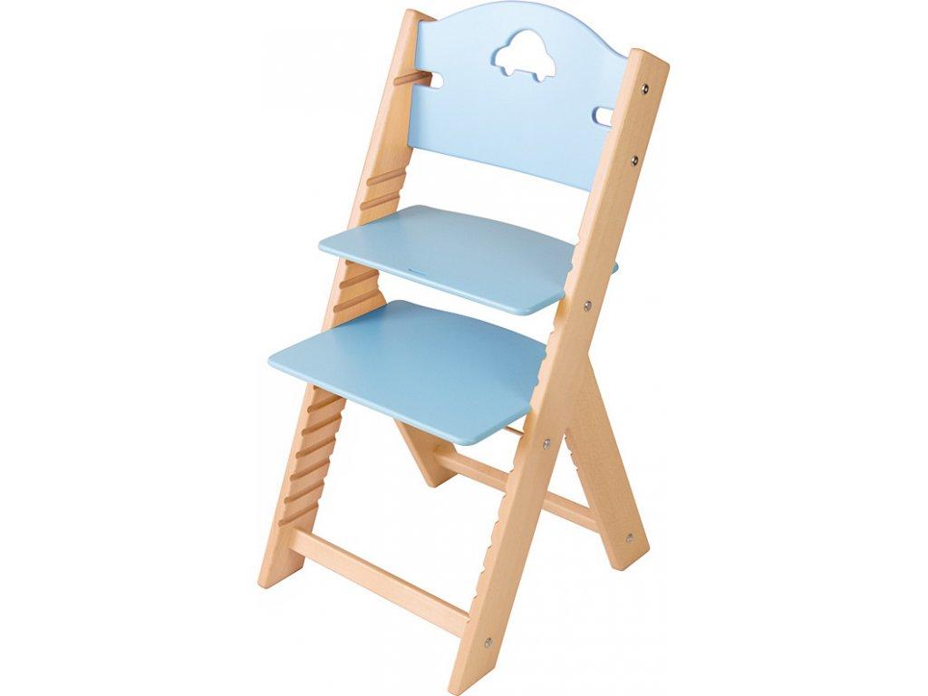 Dětská dřevěná rostoucí židle Sedees – modrá s autíčkem