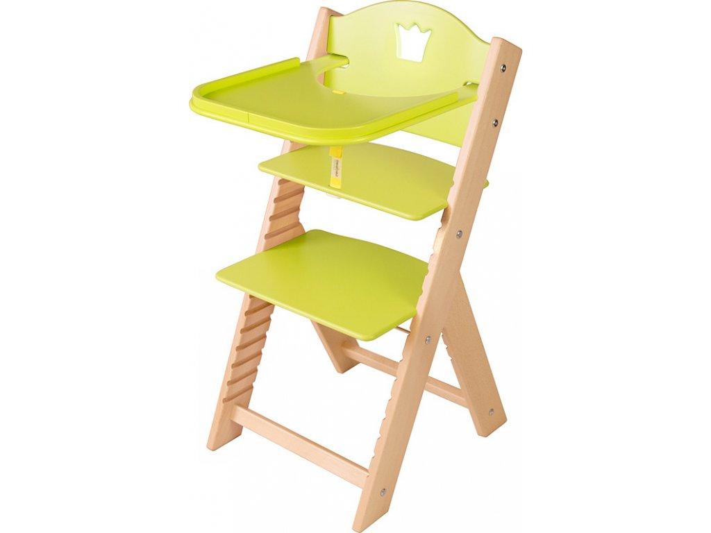 Dětská dřevěná jídelní židlička Sedees - zelená s korunkou