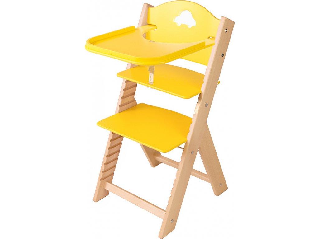 Dětská dřevěná jídelní židlička Sedees - žlutá s autíčkem