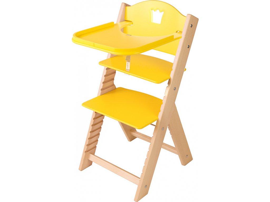 Dětská dřevěná jídelní židlička Sedees - žlutá s korunkou
