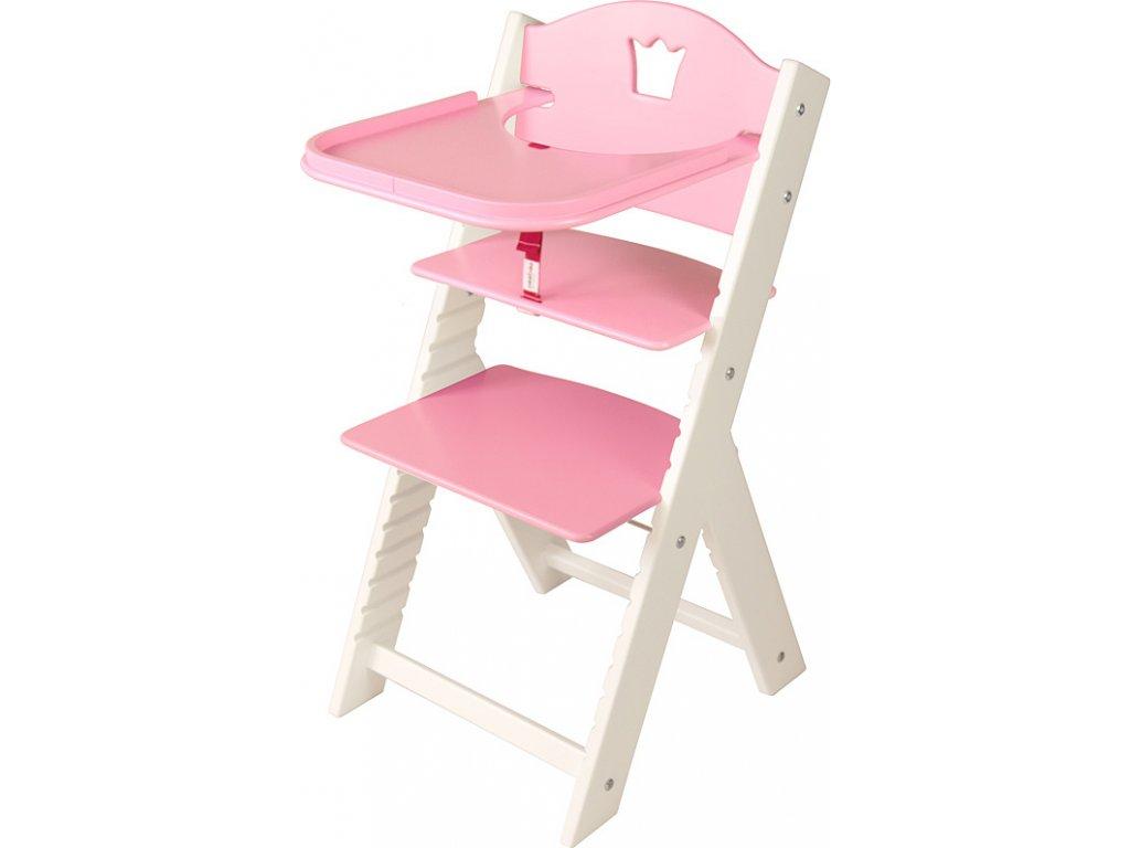 Dětská dřevěná jídelní židlička Sedees bílá - růžová s korunkou