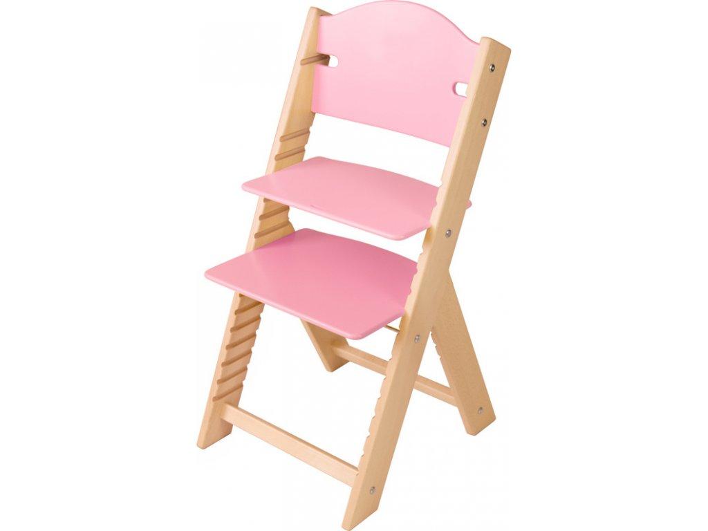 Dětská dřevěná rostoucí židle Sedees – růžová