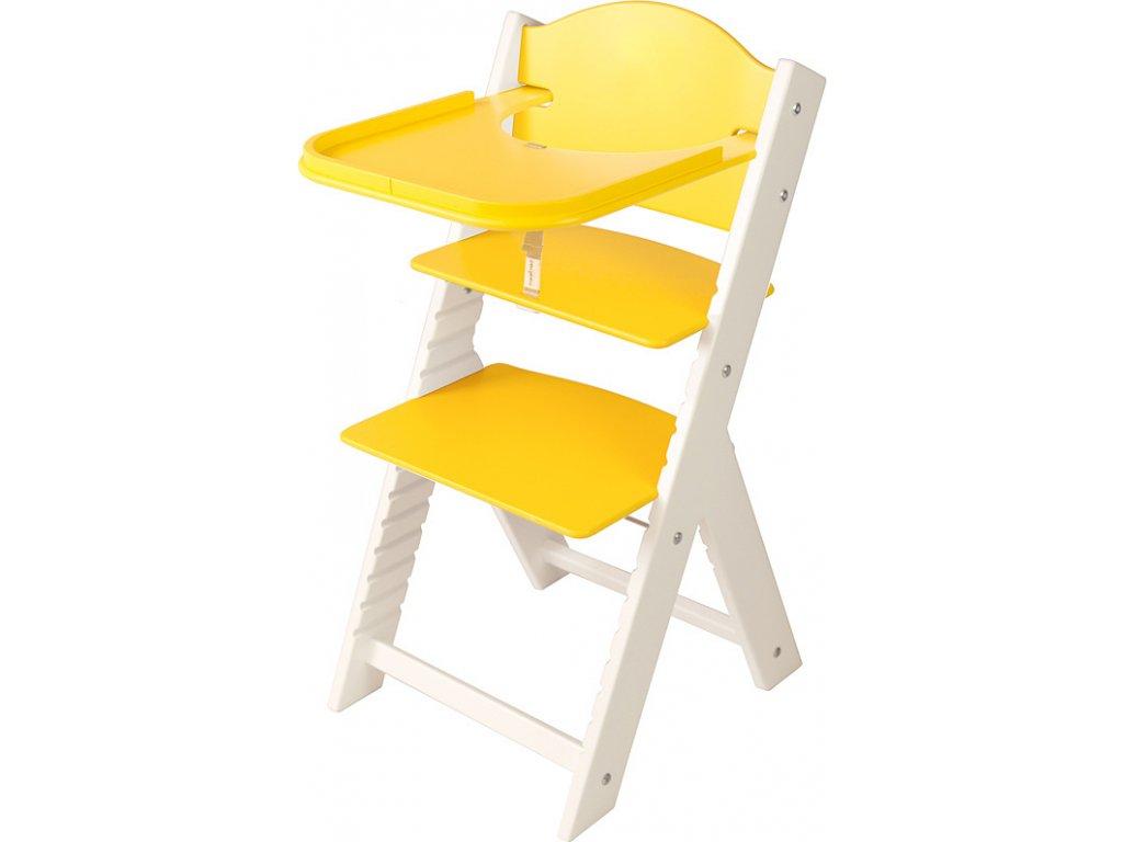 Dětská dřevěná jídelní židlička Sedees bílá - žlutá