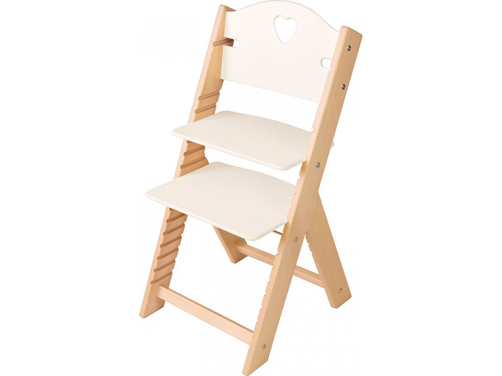 Dětská dřevěná rostoucí židle Sedees - bílá se srdíčkem
