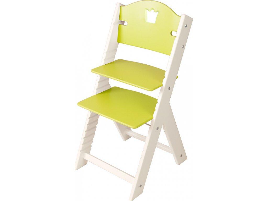 Dětská dřevěná rostoucí židle Sedees bílá - zelená s korunkou