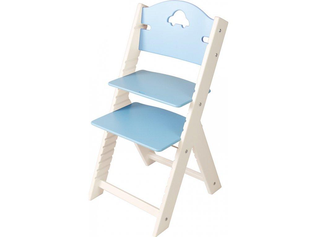 Dětská dřevěná rostoucí židle Sedees bílá - modrá s autíčkem