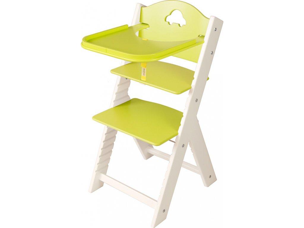 Dětská dřevěná jídelní židlička Sedees bílá - zelená s autíčkem